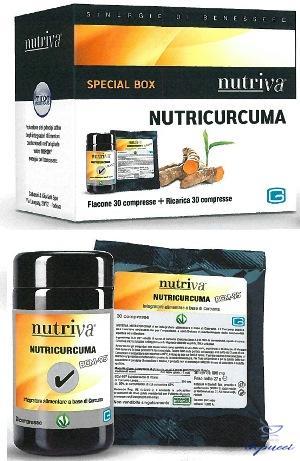 NUTRIVA NUTRICURCUMA 30 COMPRESSE IN FLACONE DI VETRO  RICARICA