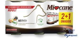 MIOCANE PATE' TRIS ADULT MANZO/CAROTE 3 X 400 G